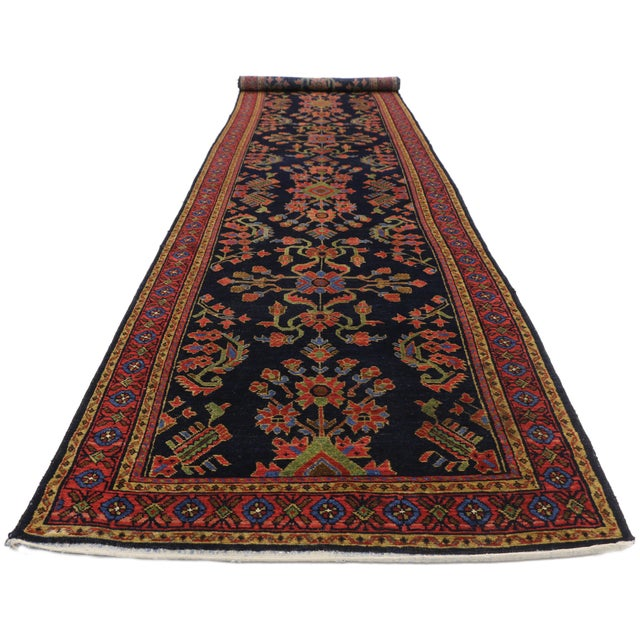 Antique Persian Malayer Rug Runner With Mina Khani - 3'5 X 16'4 For Sale - Image 9 of 10