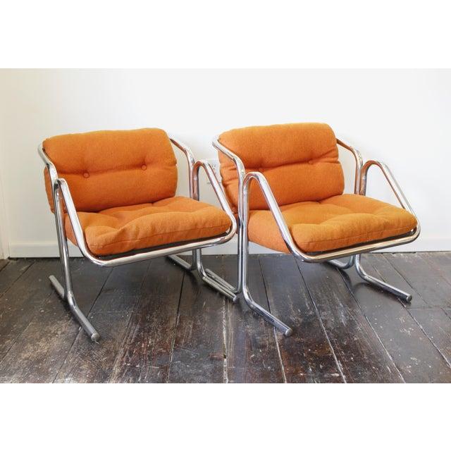 Orange Pair Mid Century Modern Jerry Johnson Arcadia Lounge Chairs Orange Chrome For Sale - Image 8 of 8