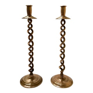 Pair of Elegant Victorian Tall Candle Holders in Braided Brass Metal For Sale