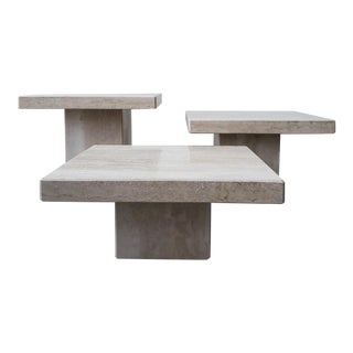 Set of 3 Square Tiered Italian Travertine Bunching Tables For Sale