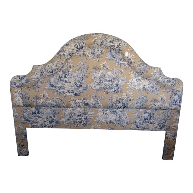 Blue Indian Safari Print Upholstered King Headboard - Image 1 of 5