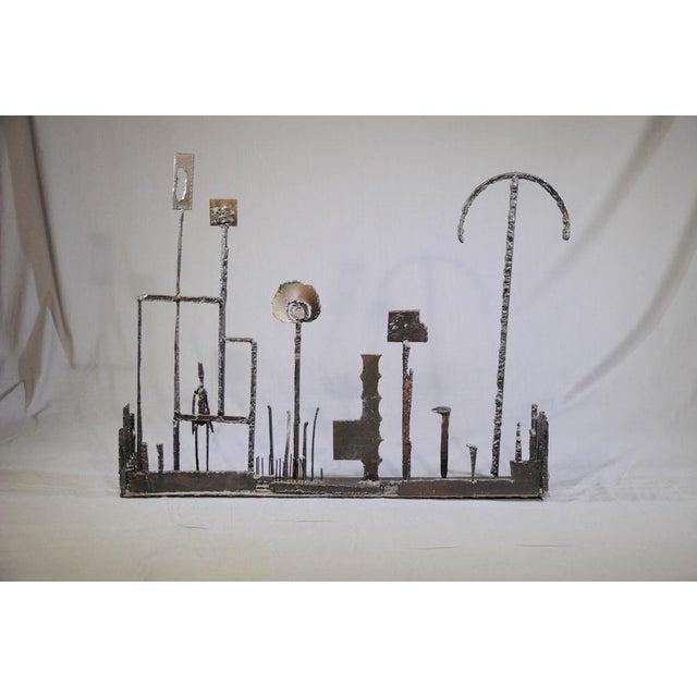 Brown 1960's Brutalist Welded Steel Sculpture For Sale - Image 8 of 9