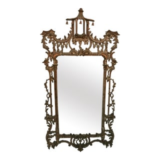 Elegant Chinoiserie Mirror with Pagoda Crown For Sale