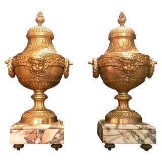 19th Century French Louis XVI Style Gilt Bronze Lidded Urns - a Pair For Sale