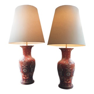 Tall 1940s Imari Ceramic Table Lamps - a Pair For Sale