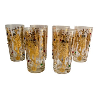 Mid 20th Century Culver Mardi Gras Jester Highball Glasses - Set of 6 For Sale