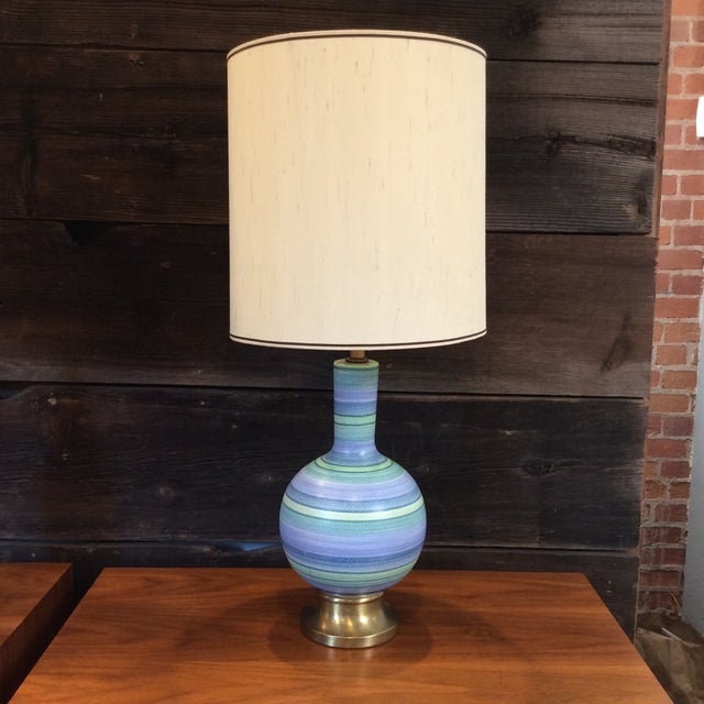 Vintage Striped Pottery Lamp - Image 2 of 8