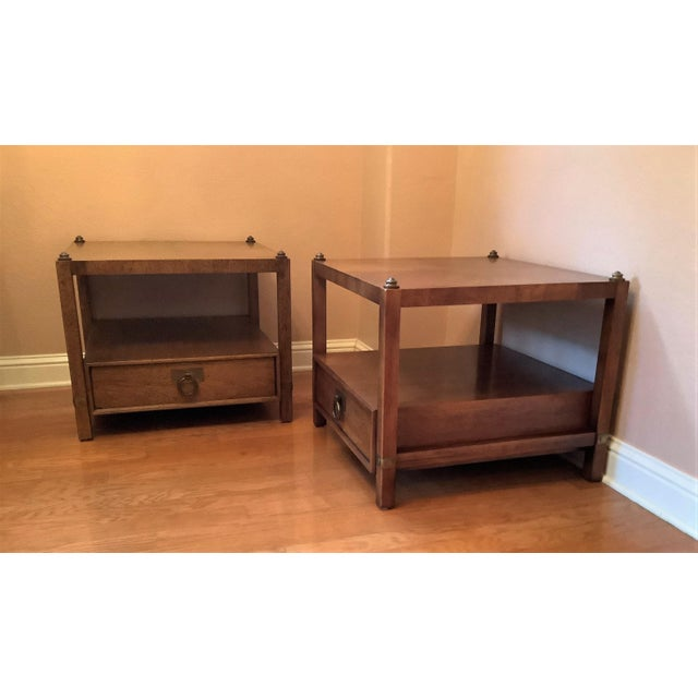 Mid 20th Century Vintage Henredon Wood + Brass End Tables - a Pair For Sale - Image 5 of 13