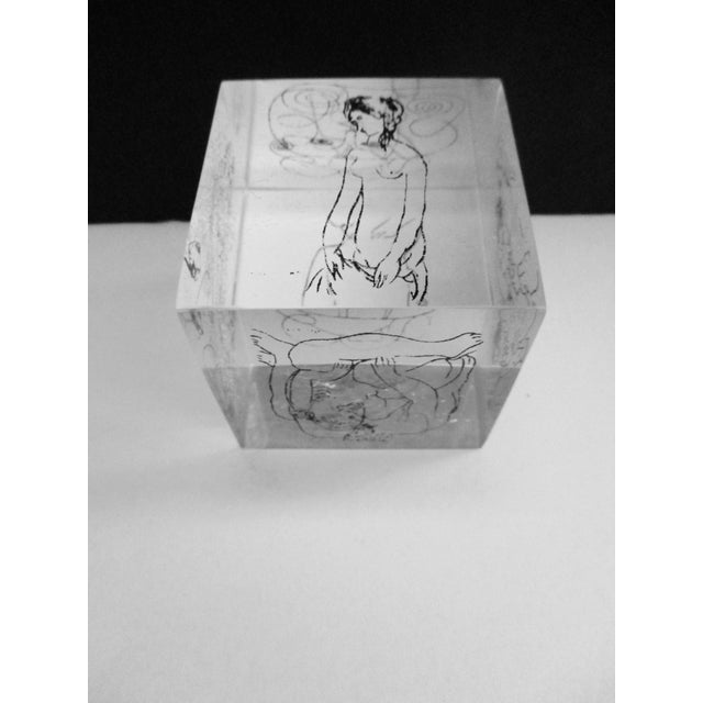 Picasso Drawings Lucite Cube Paperweight For Sale In Phoenix - Image 6 of 9