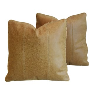 "Italian Leather & Linen Feather/Down Pillows 20"" Square - Pair For Sale"
