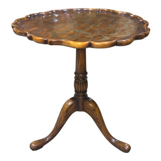 Theodore Alexander Pie Crust Accent Table With Gold Scrolled Inset Design For Sale