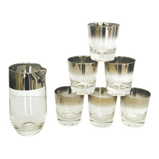 Set of Eight Whiskey Barware Glasses & Martini Shaker by Dorothy Thorpe, 1960's For Sale