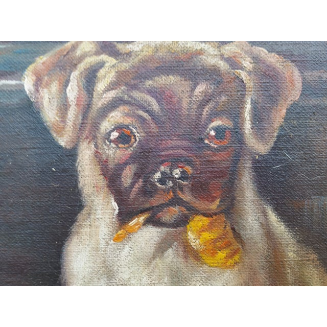 Vintage Pugs & Punch Oil Painting For Sale - Image 5 of 6