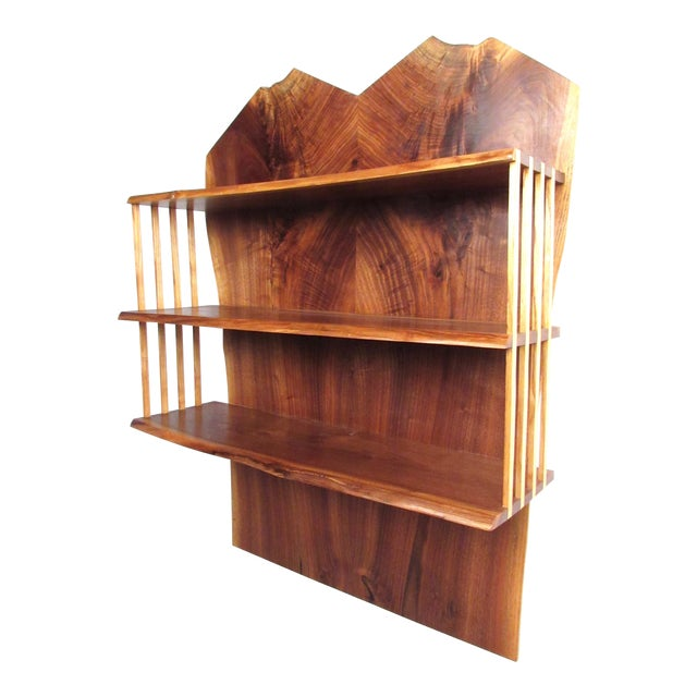 Modern Live Edge Wall Shelf After George Nakashima For Sale