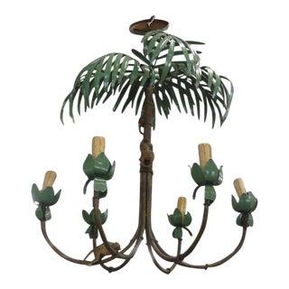 Palm Beach Palm & Monkey Chandelier For Sale
