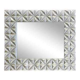 Crystal Silver Distressed Finish Wall Mirror For Sale