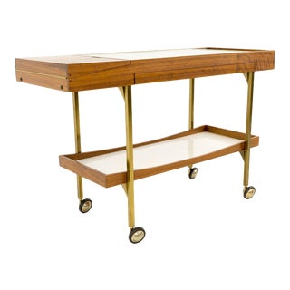 Mid-Century Modern Salton Hotray Brass and Walnut Bar Cart For Sale