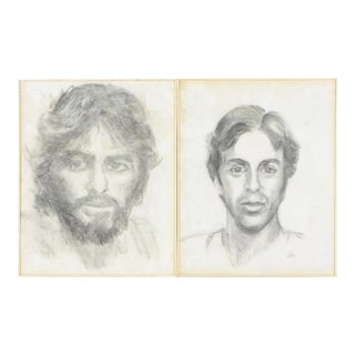 Vintage Charcoal Portraits Of Men- A Pair
