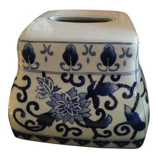 Chinoiserie Blue and White Ceramic Tissue Box Holder Cover For Sale