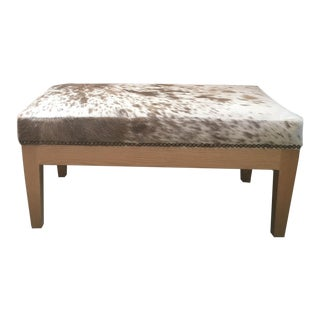 Spotted Hair on Hide Ottoman For Sale