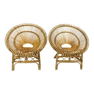 Boho Chic Woven Rattan Hoop Chairs- A Pair For Sale