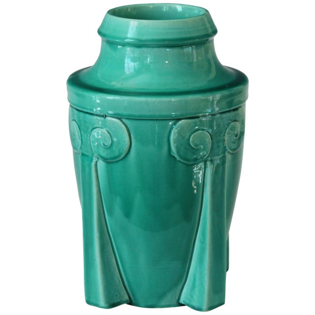 Awaji Pottery Japanese Art Deco Rocket Form Vase For Sale