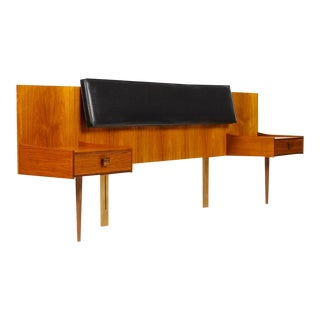 1960s Vintage Kofod Larsen for G-Plan Danish Modern Teak Floating Nightstand Headboard For Sale