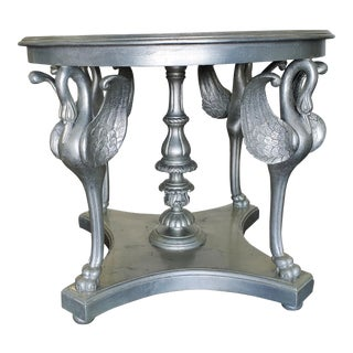 1940s Hollywood Regency Silver Leaf Hand Carved Wood Swan Center Table For Sale