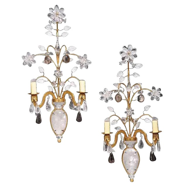 Rock Crystal and 23K Gold Leaf Two-Light Sconces - a Pair For Sale