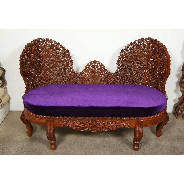 Anglo-Raj Settee and Side Chairs Suite For Sale - Image 9 of 10