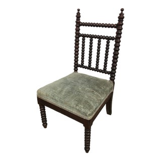 Late 19th Century Turned Wood Bobbin Upholstered Child's Chair For Sale