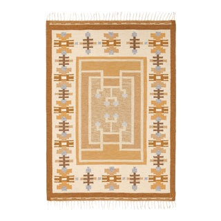 """Mid 20th Century Swedish Flat Weave Rug by Ingegerd Silow - 5'6""""x7'7"""" For Sale"""