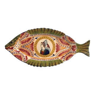 Large French Faience Fish Platter Quimper Circa 1930 For Sale