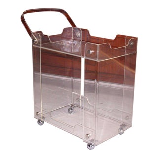 Bent Lucite Mid-Century Modern Tea Cart For Sale