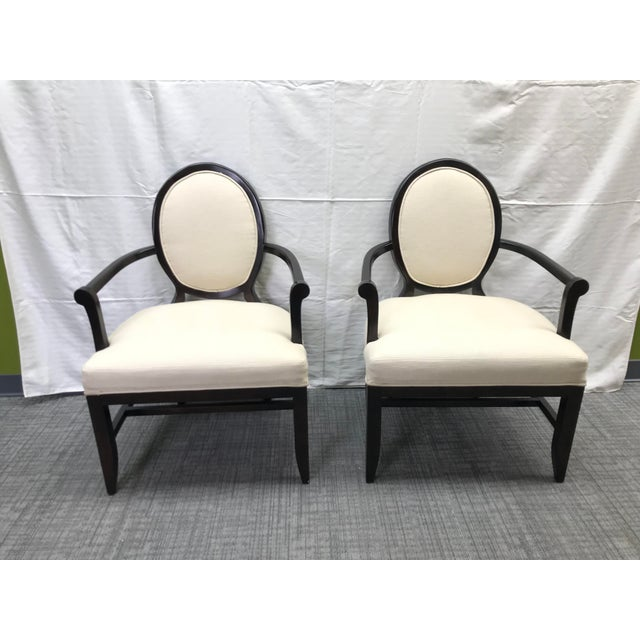 Transitional Barbara Barry Cream Oval X-Back Arm Chairs - a Pair For Sale - Image 13 of 13