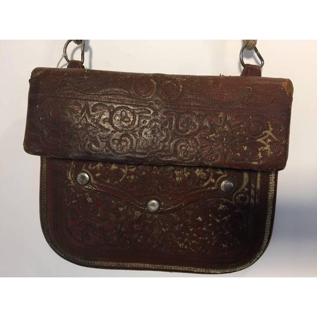 Moroccan Berber Tribal Hand Tooled Leather Shoulder Bag For Sale - Image 9 of 9