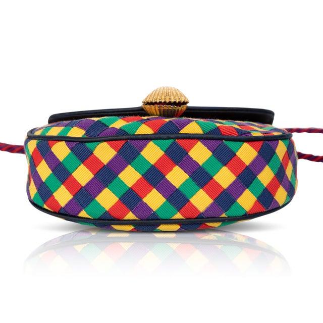 Vintage Bottega Veneta Colorful Ribbon Gold Shell Crossbody Bag For Sale - Image 4 of 6
