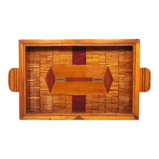 1940s Matchstick & Wood Inlay Tramp Art Tray For Sale