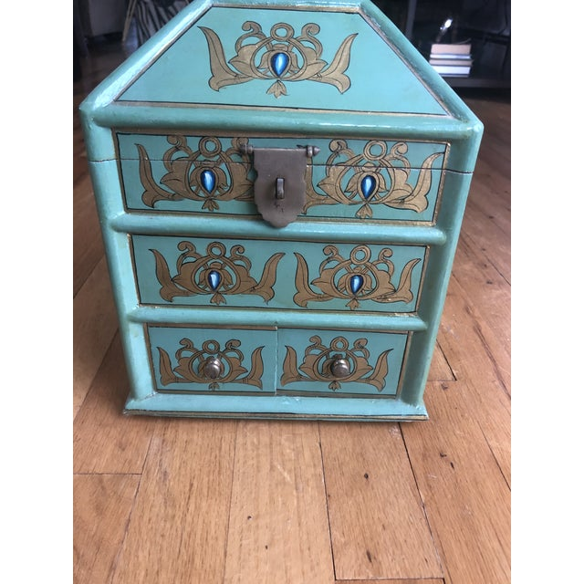 Beautiful Handpainted box. Trinket or jewelry. As 2 drawers and opens on the top with extra storage.