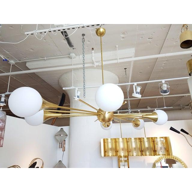 Brass Mid-Century Modern Italian Stilnovo Style Brass & White Glass Sputnik Chandelier 1960s For Sale - Image 7 of 12