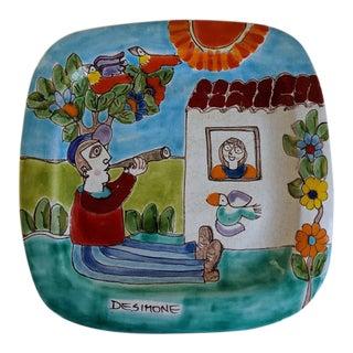 1960s Vintage Italian Giovanni Desimone Art Plate For Sale