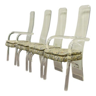 Set of 4 Hill Mfg Vintage Mid Century Modern Lucite Sculptural Dining Chairs