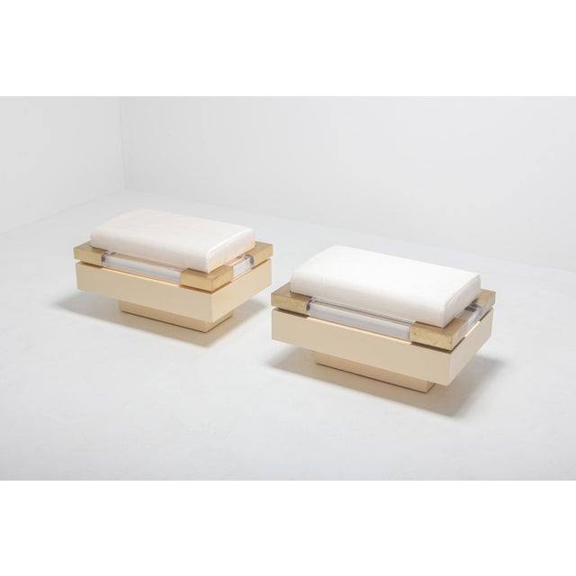 1970s Postmodern Chic Pair of Ottoman in Cream Lacquer, Brass and Lucite For Sale - Image 5 of 8