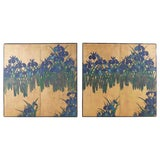 Image of Japanese Iris Screens on Gilt After Ogata Korin - a Pair For Sale
