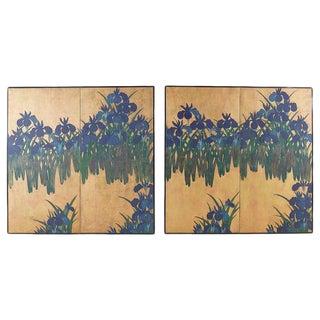 Pair of Japanese Iris Screens on Gilt After Ogata Korin For Sale