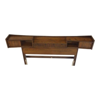 Walnut Headboard Bed With Built in Storage Compartment Book Lamp Shelves
