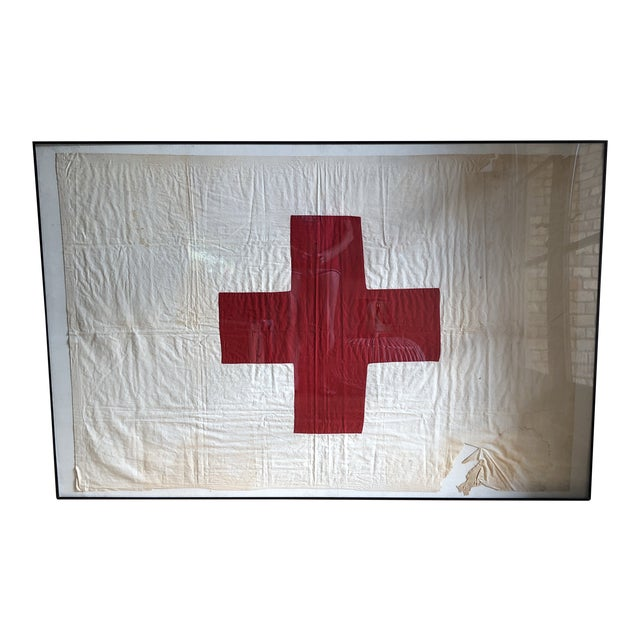 Antique Framed Red Cross Flag For Sale