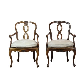 1950s Italian Linen Upholstered Arm Chairs - a Pair For Sale