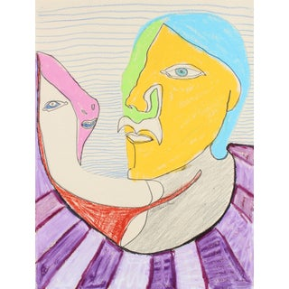 Surreal Faces Conversing Late 20th Century Pastel & Graphite For Sale