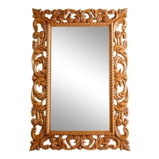 Cherry Contemporary Rococo Style Mirror For Sale